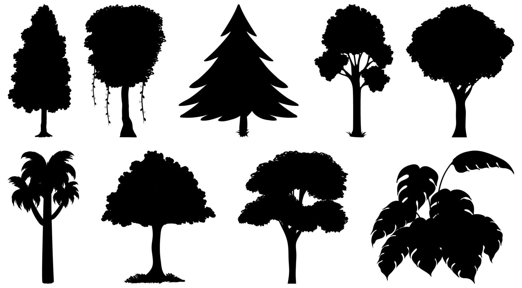 uppsättning av växter och träd silhuetter vektor