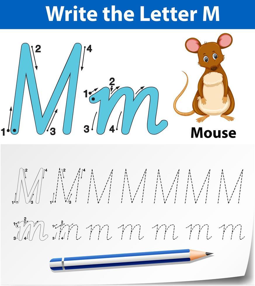 Verfolgung der Alphabetvorlage für den Buchstaben m mit der Maus vektor