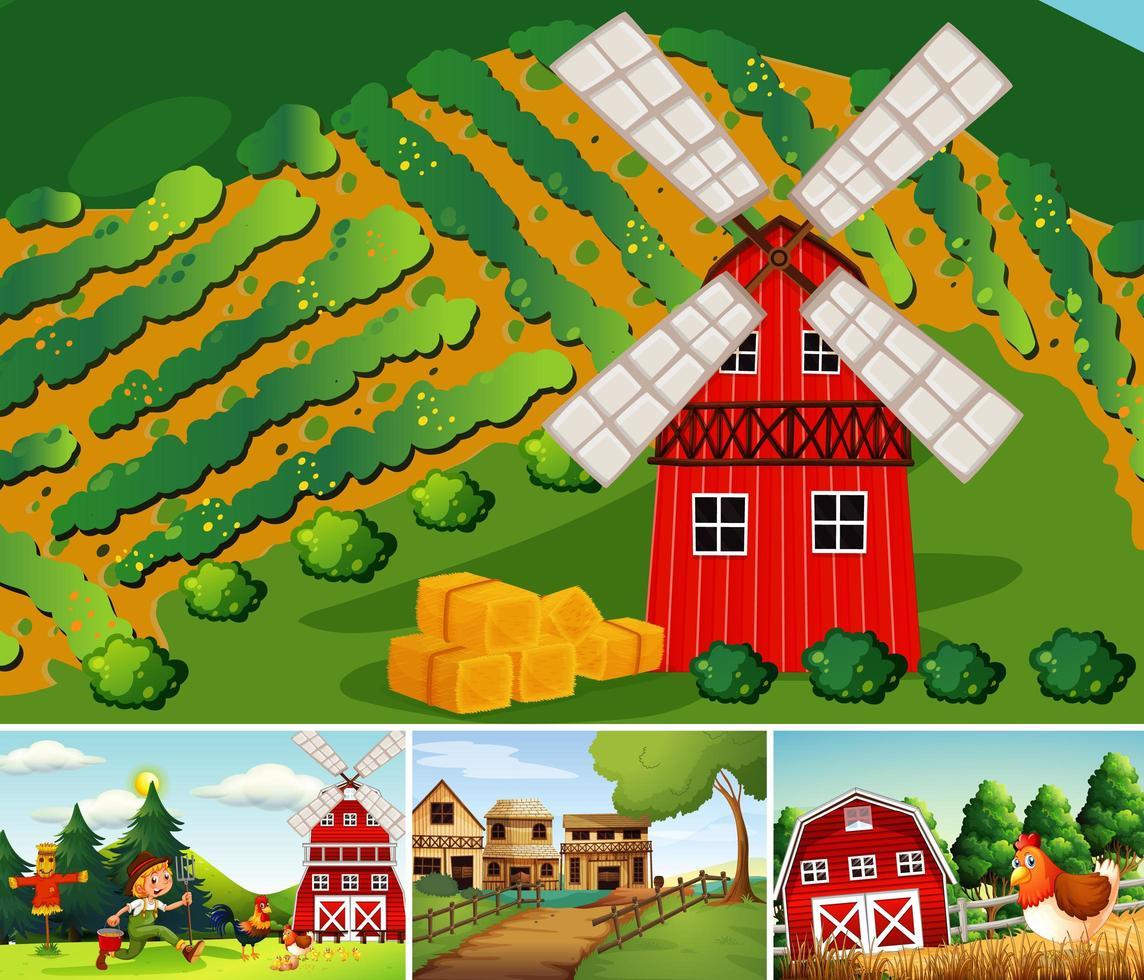 Satz von verschiedenen Farmszenen im Cartoon-Stil vektor