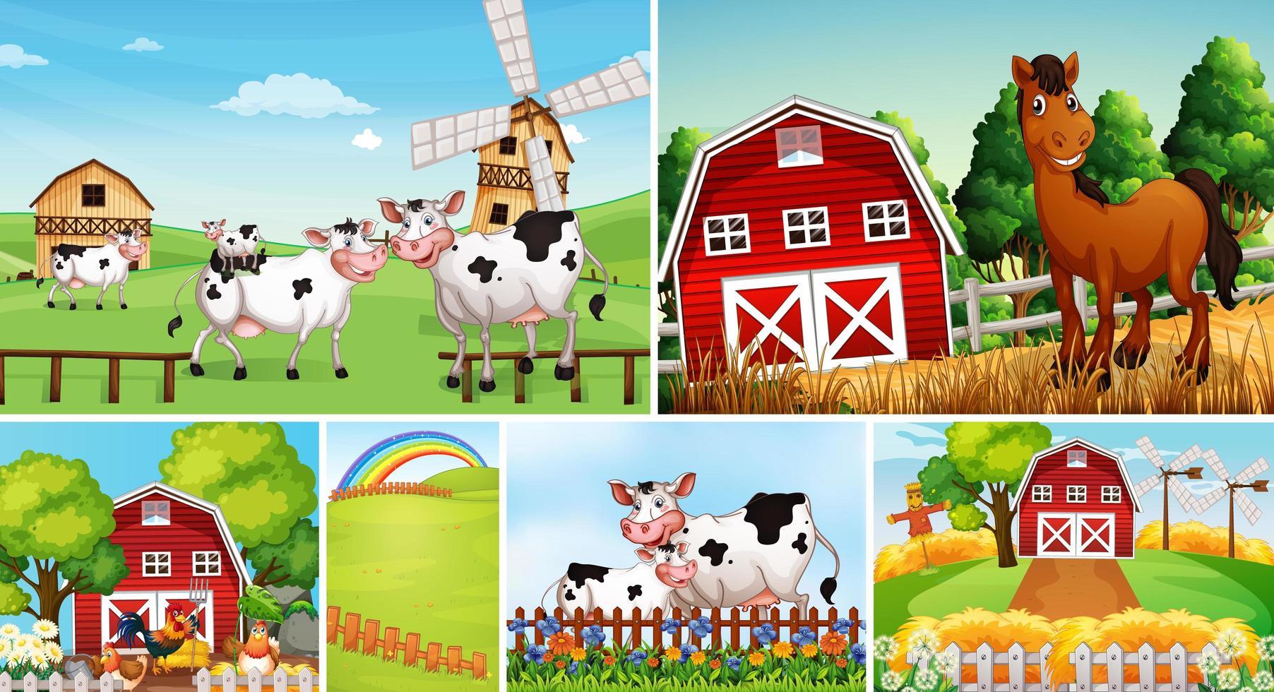 Set von verschiedenen Farmszenen mit Tieren vektor