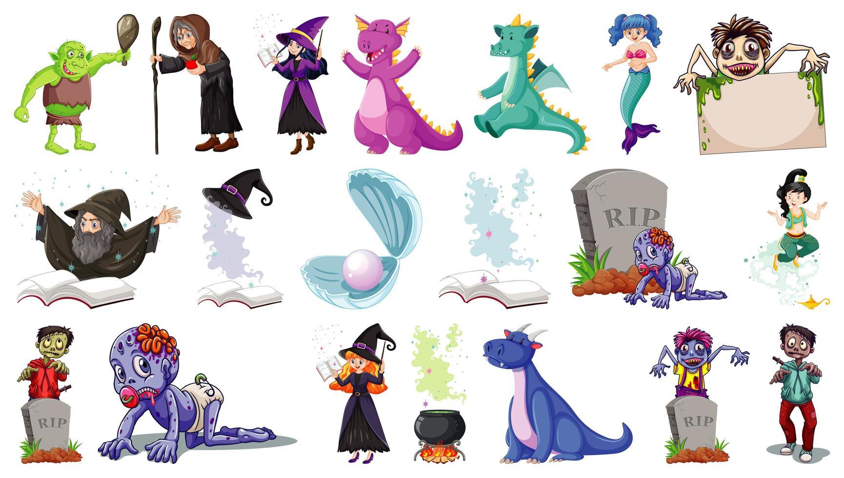uppsättning fantasy seriefigurer och fantasy tema isolerade vektor