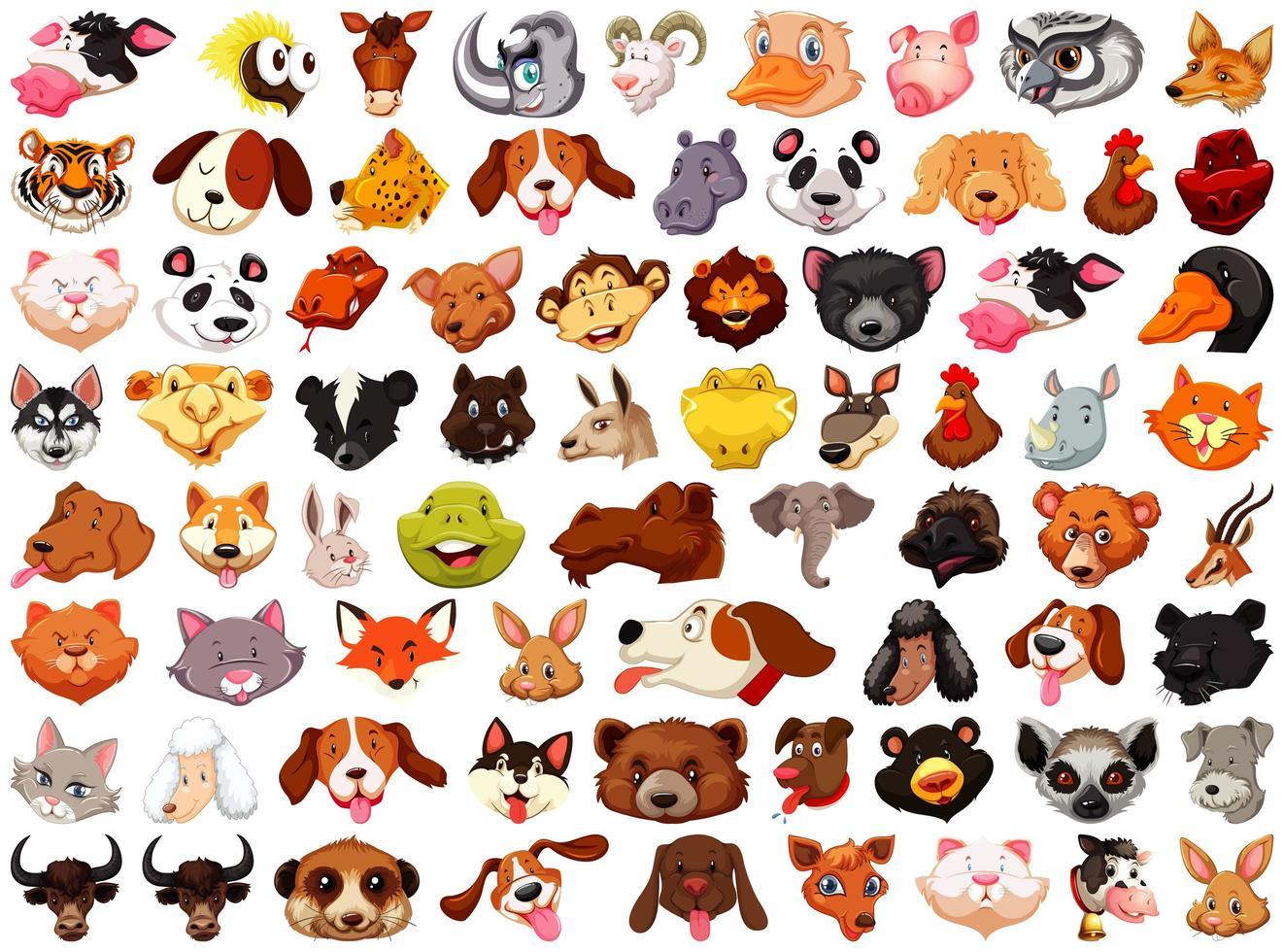 uppsättning av olika söta tecknade djur vektor