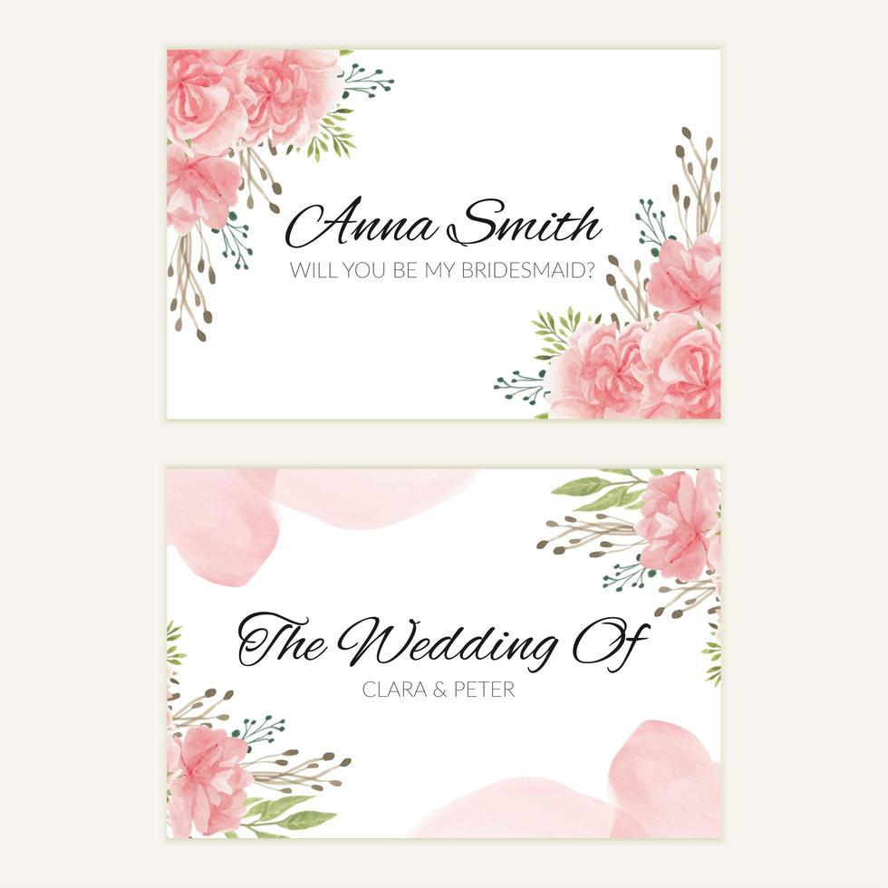 akvarell rosa blommig bröllop brudtärna kort mall vektor