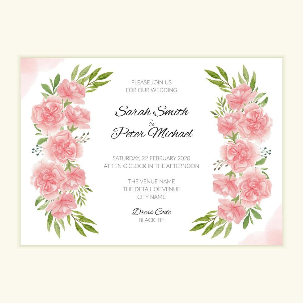 mall för bröllopsinbjudan med akvarellblommabukett vektor