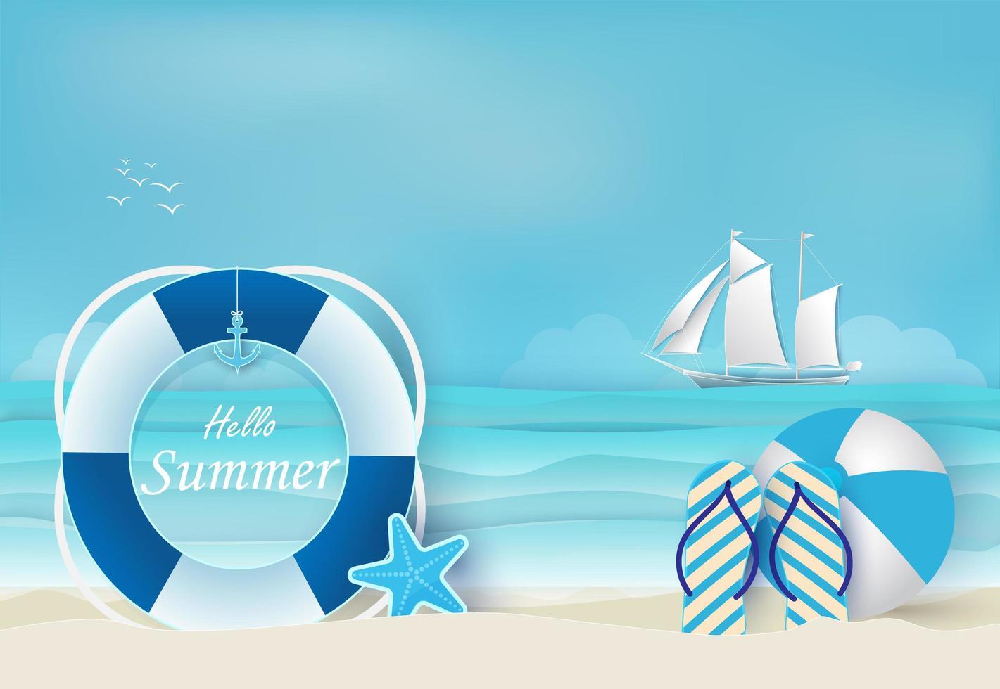 strand och sommarblå bakgrund vektor