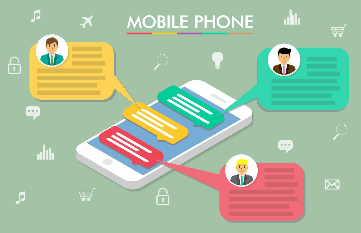 smartphone nytt meddelande chat app design vektor