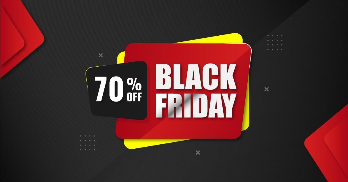 svart fredag försäljning banner med lager former vektor
