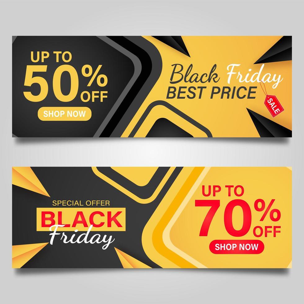 svart fredag banner i gult och svart vektor