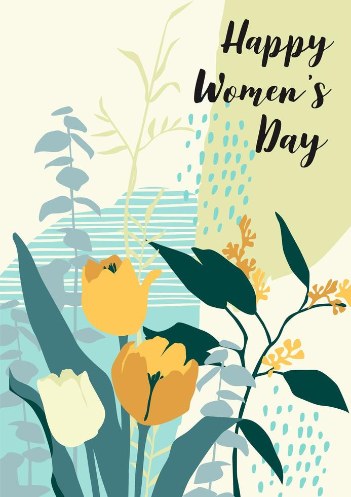 internationellt kvinnodagskort med blommor vektor