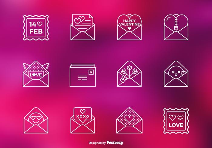 Valentin kärleksbrev vektor linje ikoner
