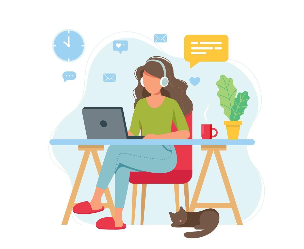 kvinna som arbetar hemifrån, student eller frilansare vektor