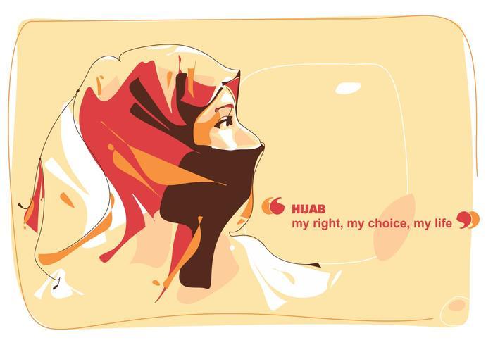 Hijab Mädchen - Moslem Leben - Popart Porträt vektor