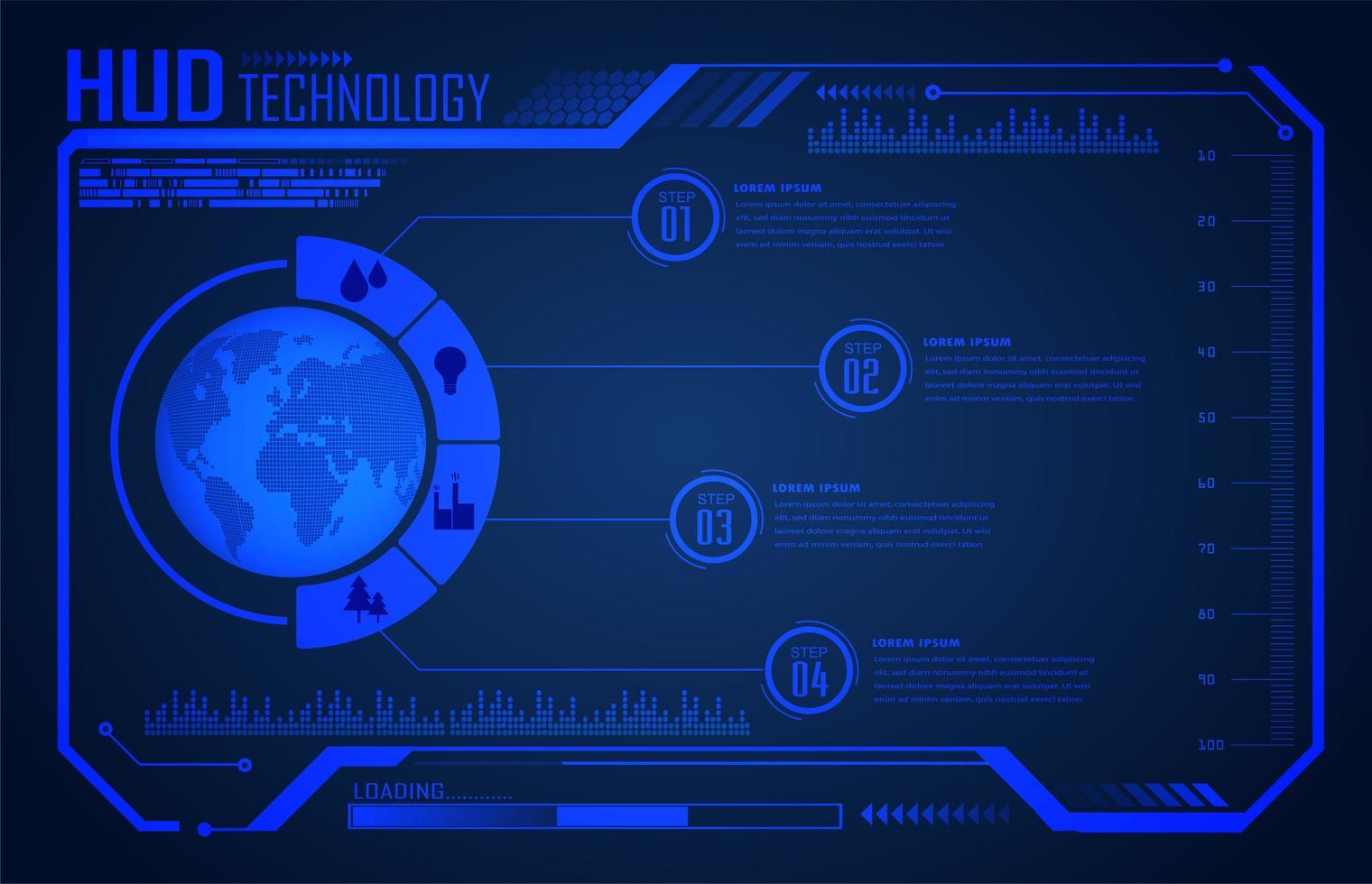 binär kretskort framtida teknik blå värld hud vektor