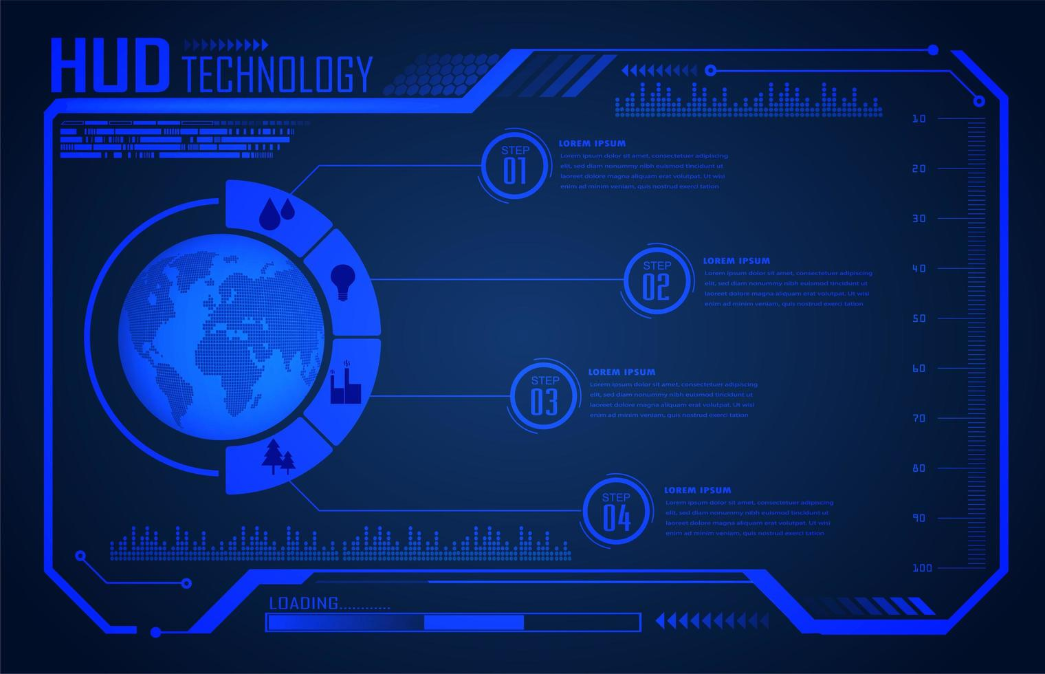 Binärplatine Zukunftstechnologie Blue World Hud vektor