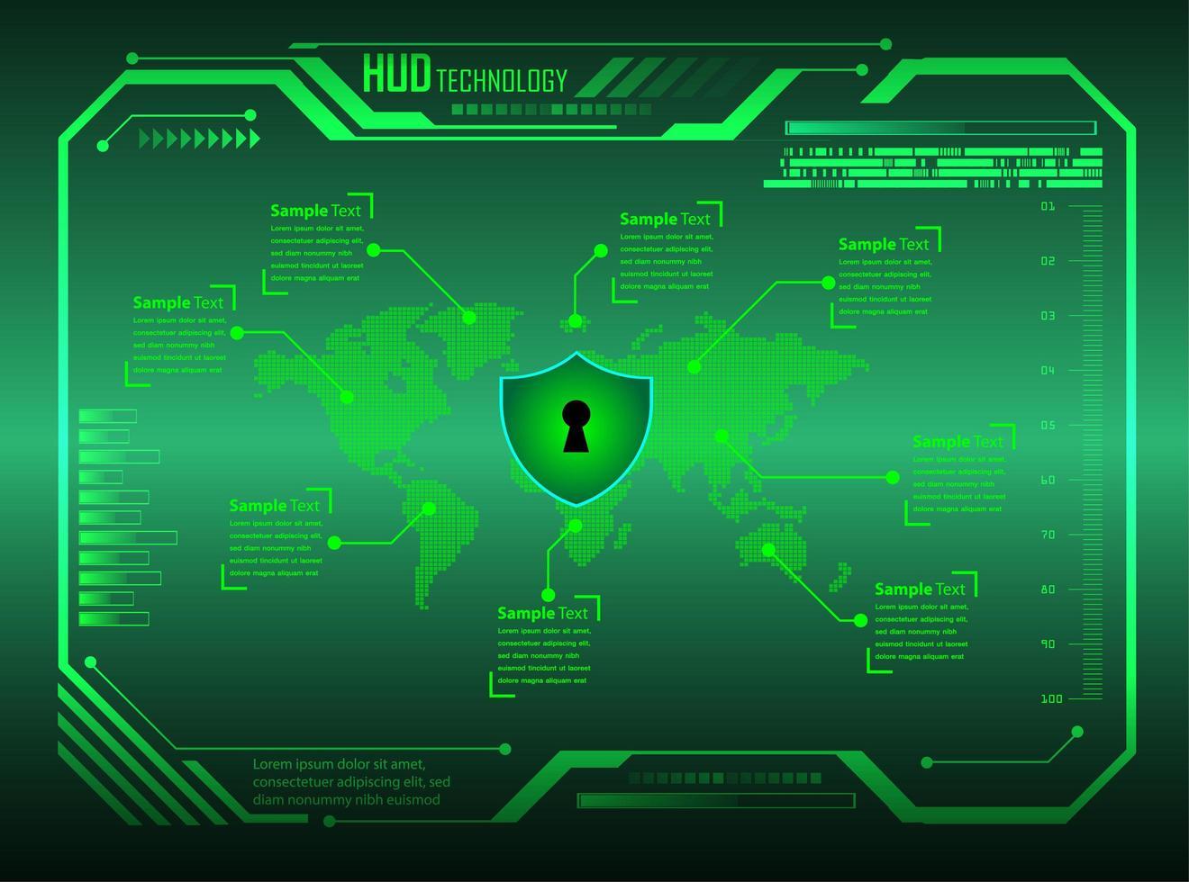 grön binär kretskort framtida teknikbakgrund vektor