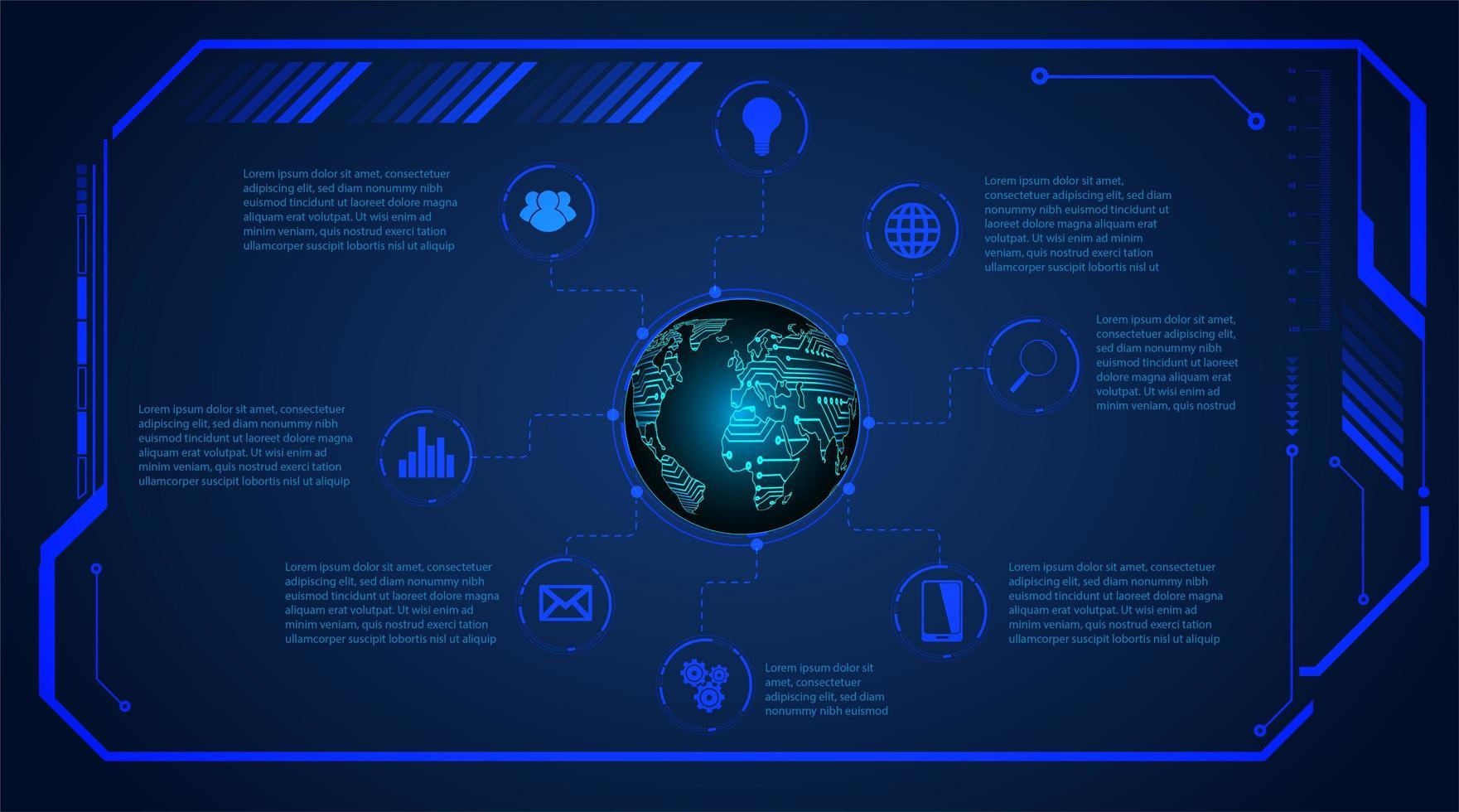 blå binär kretskort framtida teknik vektor