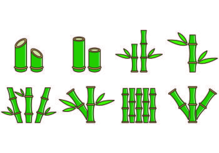 Set Bambus Icons vektor