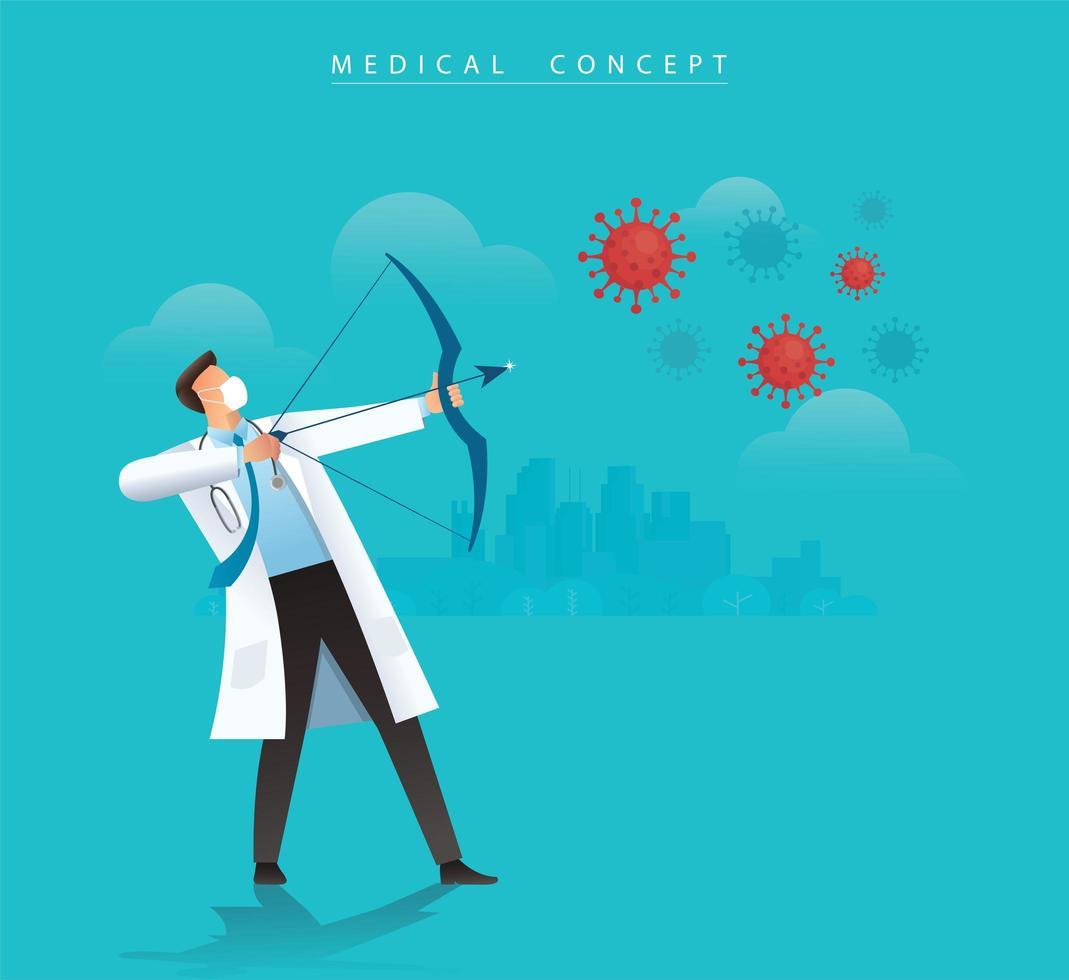 Arzt mit Bogen, der auf das Coronavirus zielt vektor