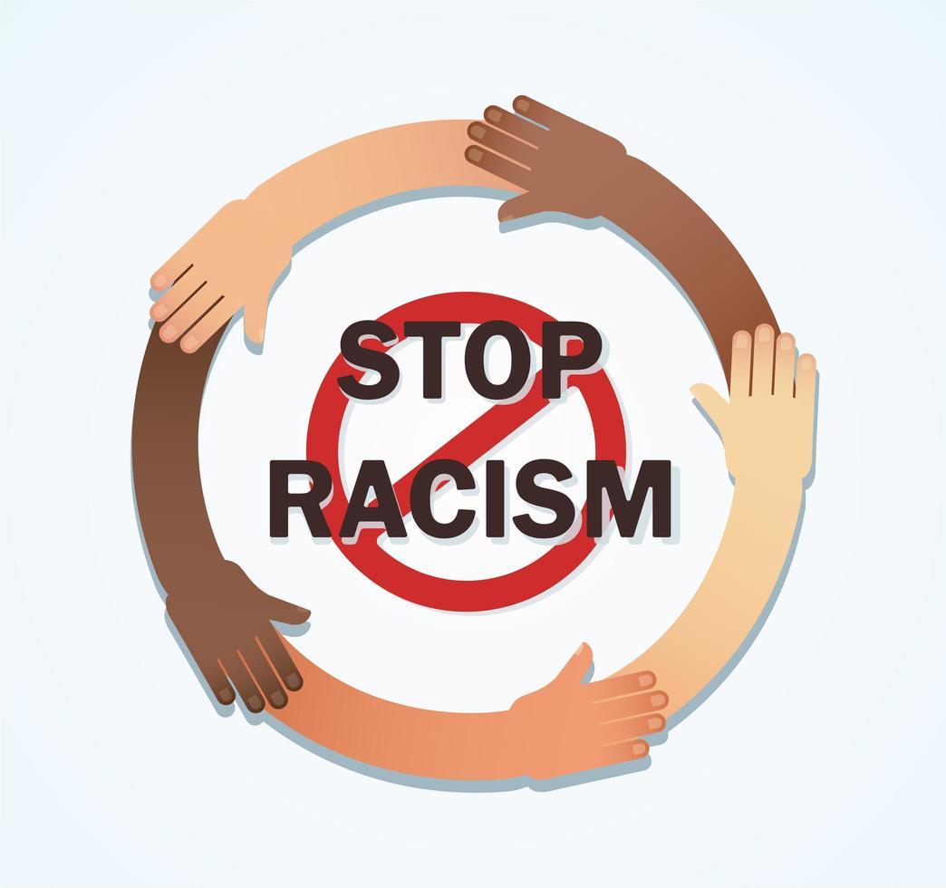 viele Hände verschiedener Rassen zusammen in einem Kreis vektor