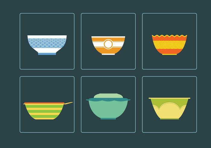 Sex vackra skål vektorer