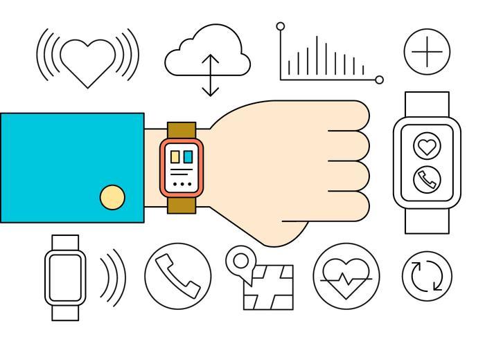 Smart watch icons vektor