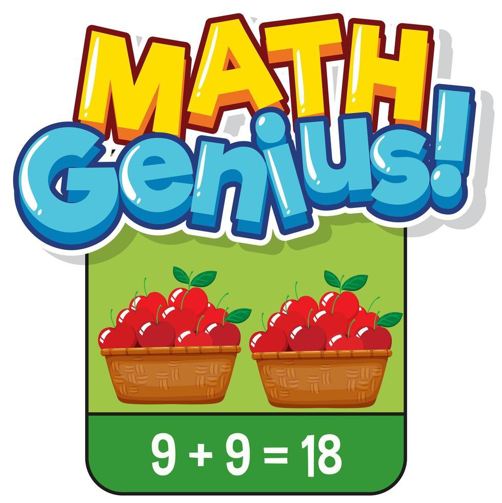 Mathe-Karteikarten-Design zum Hinzufügen von Zahlen vektor