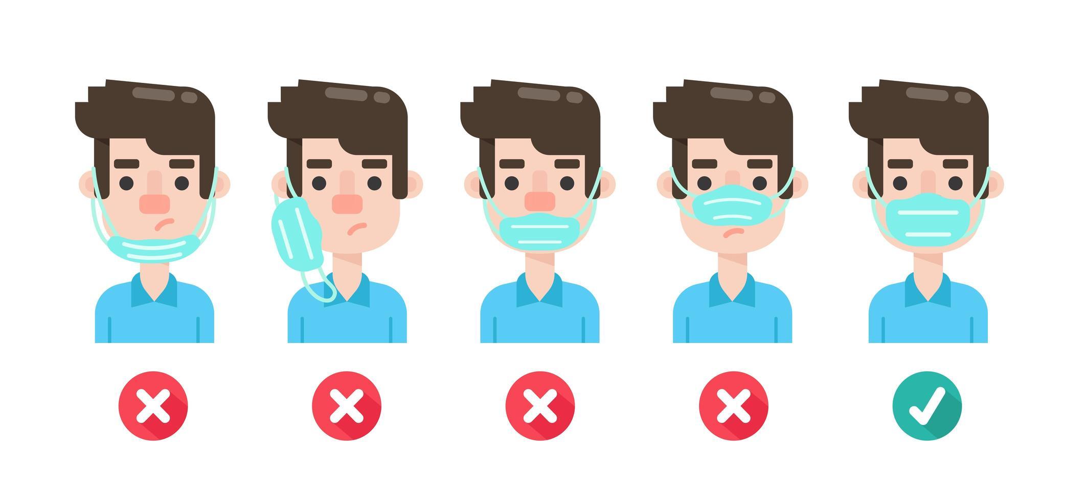 Diagramm mit der falschen Verwendung von Gesichtsmasken vektor