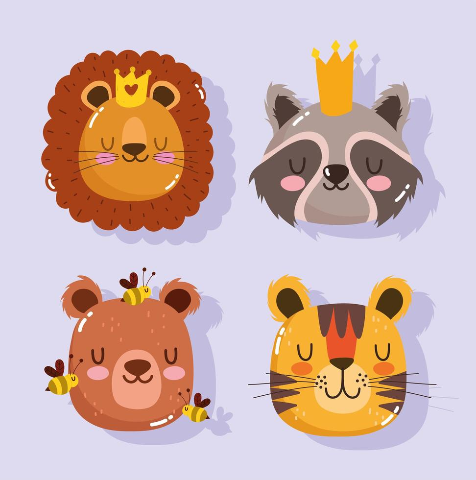lejon tvättbjörn tigerbjörn och bi djur ansikten vektor