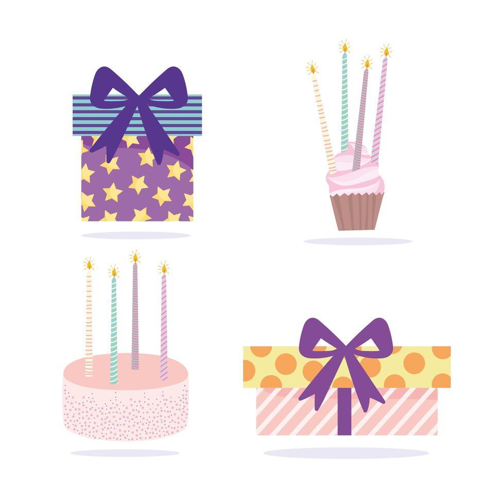 Geschenkboxen Kuchen Cupcake und Kerzen Ikonen vektor