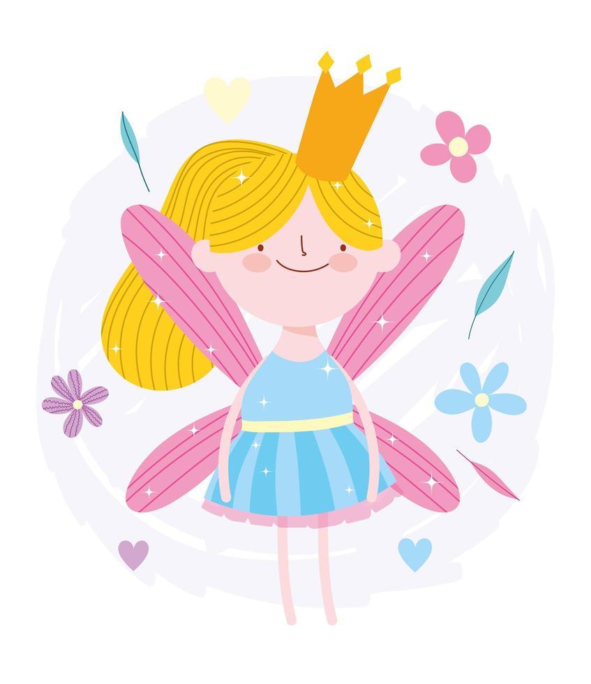 Märchenprinzessin mit goldener Krone und Blumen vektor