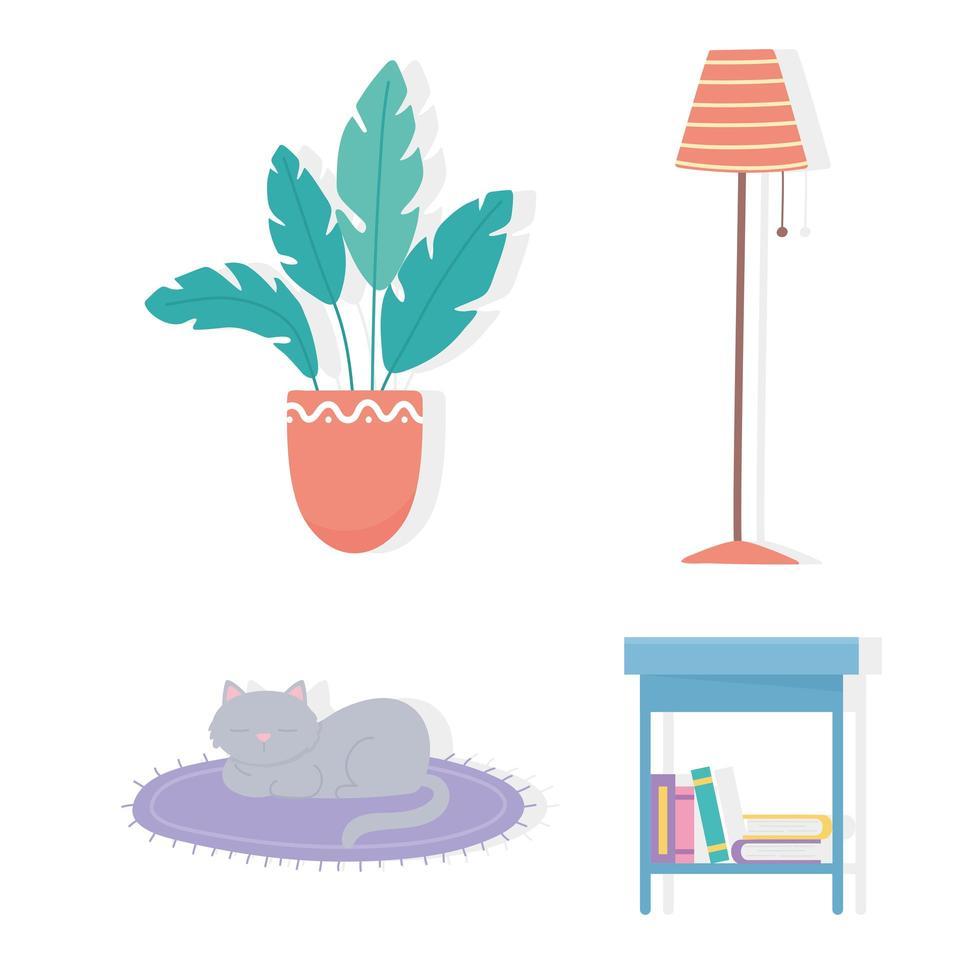 krukväxt, lampa, bord, böcker, kattikoner vektor