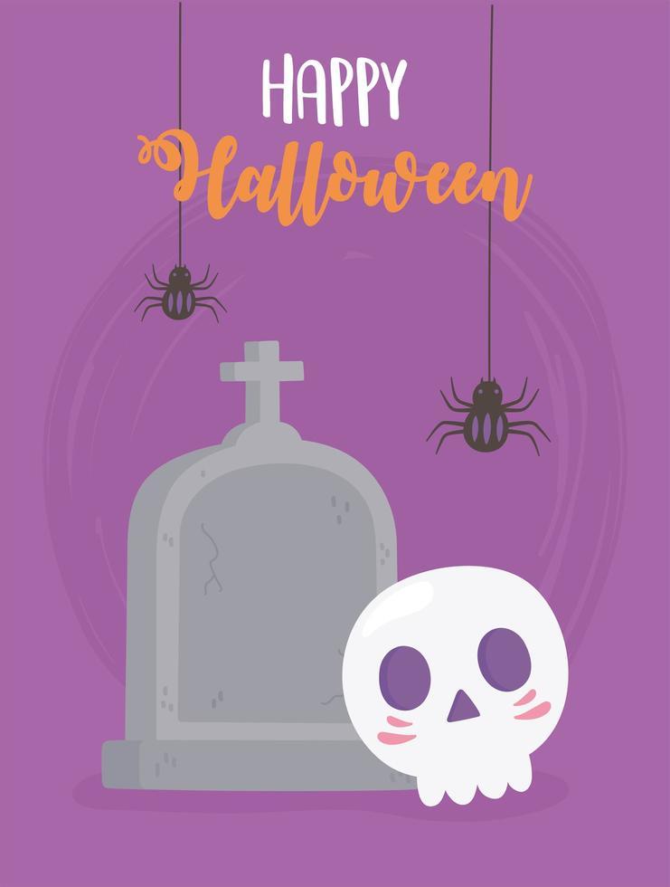 glückliche Halloween hängende Spinnen, Schädel und Grabsteinkarte vektor