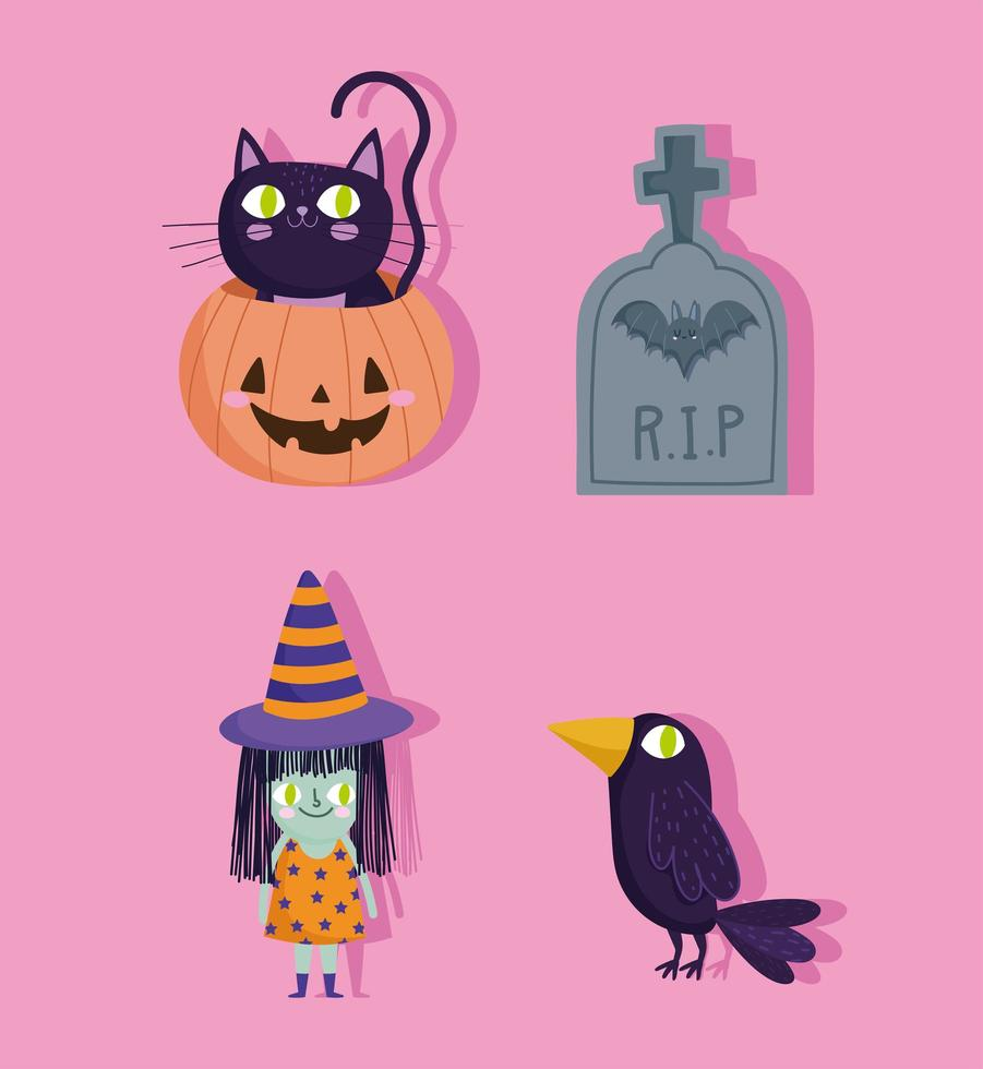 Halloween-Katze in Kürbis-, Hexen-, Grabstein-, Rabenikonen vektor