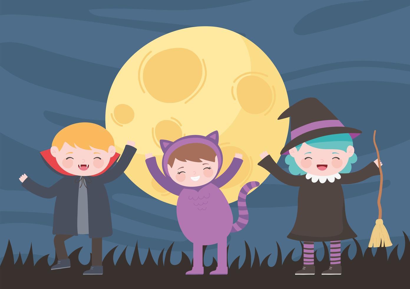 Halloween Kostüm Katze, Hexe und Vampir in der Nacht vektor