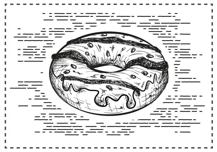 Fria händer som dras Donut Bakgrund vektor