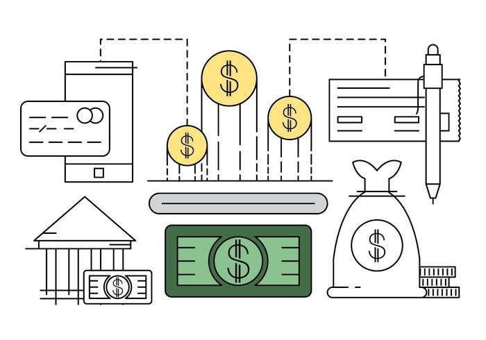 Linjära finansiella ikoner vektor