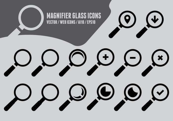 Förstoringsglas ikoner vektor