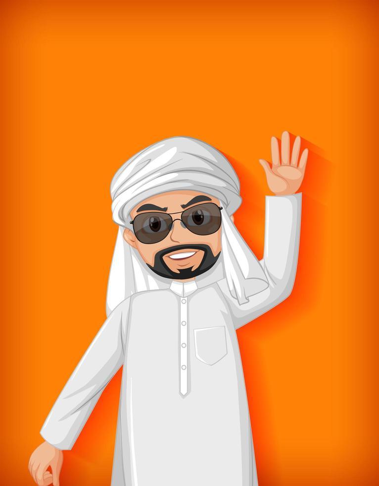 arabische Mannkarikatur auf orange Hintergrund vektor