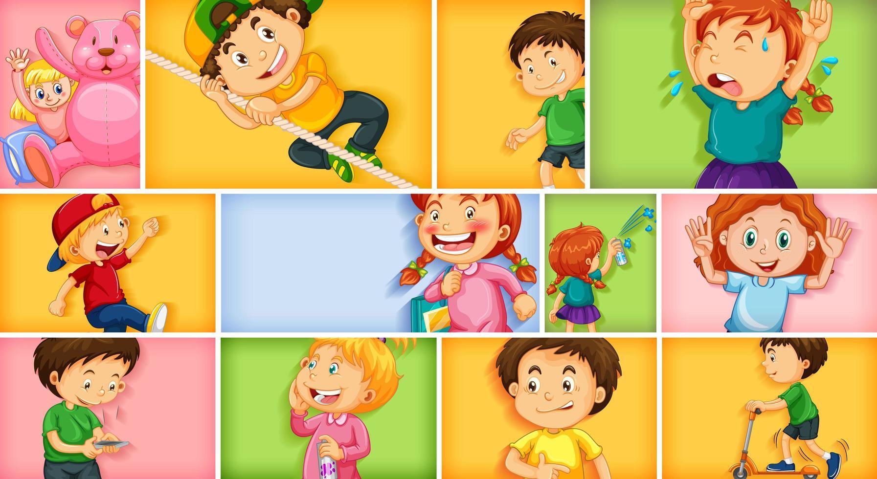 olika barnkaraktärer på olika färgbakgrund vektor