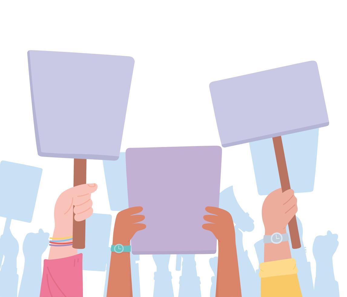 Hände halten leere Protestschilder vektor