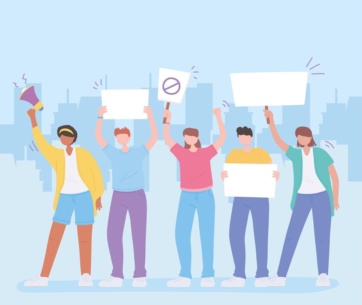 Menschen, die aus Protest Schilder halten vektor