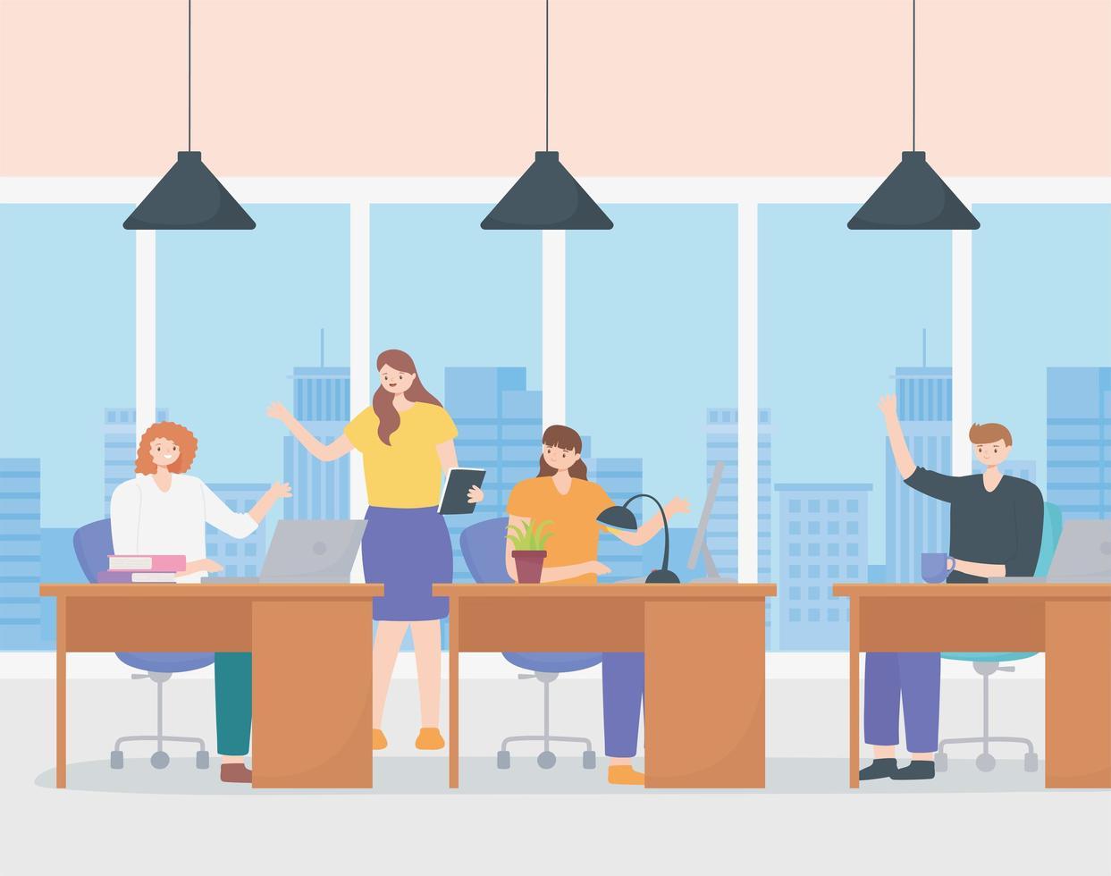 medarbetarkoncept med ett team av anställda vektor
