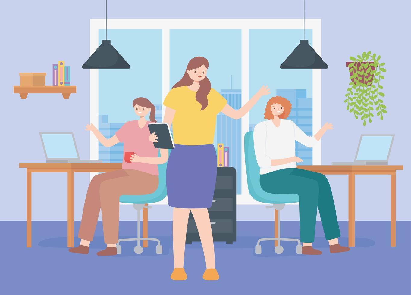 medarbetarkoncept med ett team av kvinnliga anställda vektor