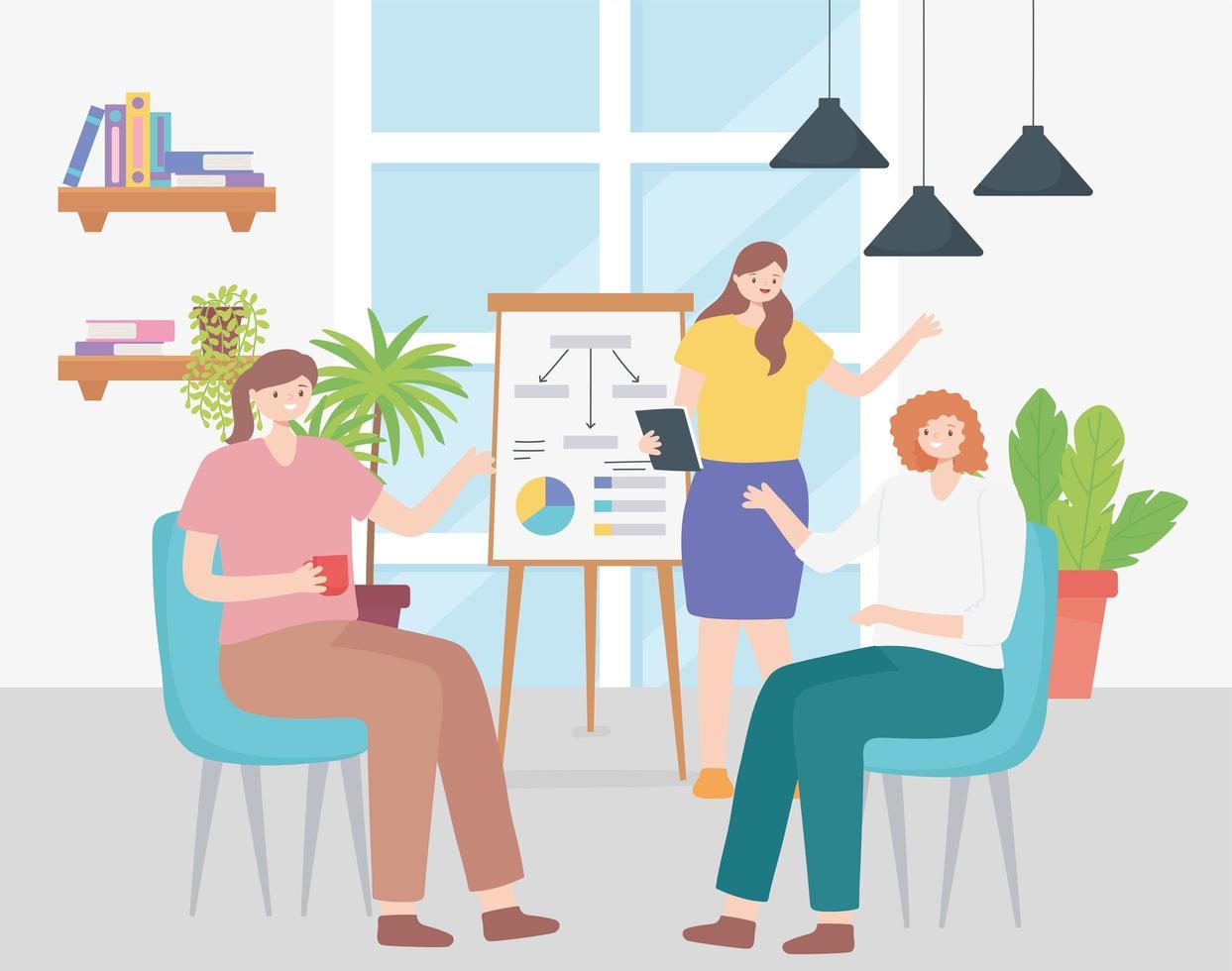 Coworking-Konzept mit einem Team weiblicher Mitarbeiter vektor