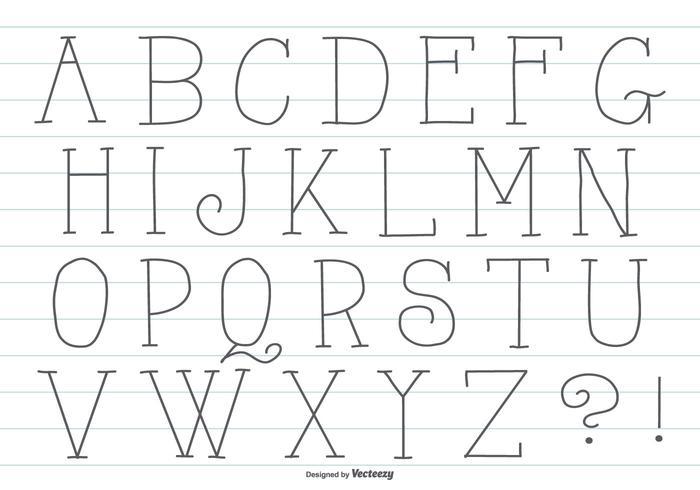 Söt Hand Drawn Alphabet vektor
