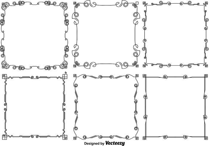 Vector Line Style Rahmen mit Herzen