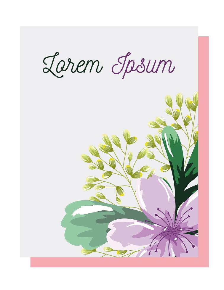 lila blommor och lövkort vektor