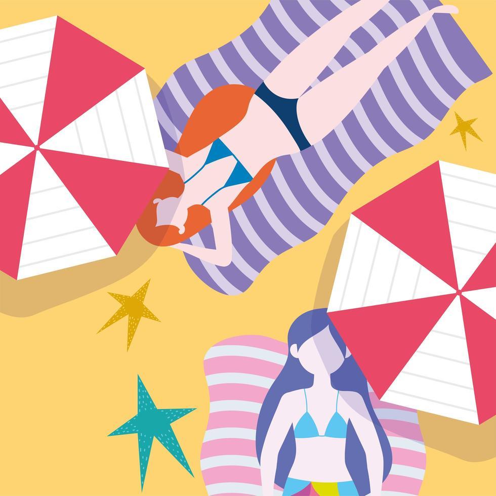 sommar människor aktiviteter kvinnor vilar på handdukar vektor