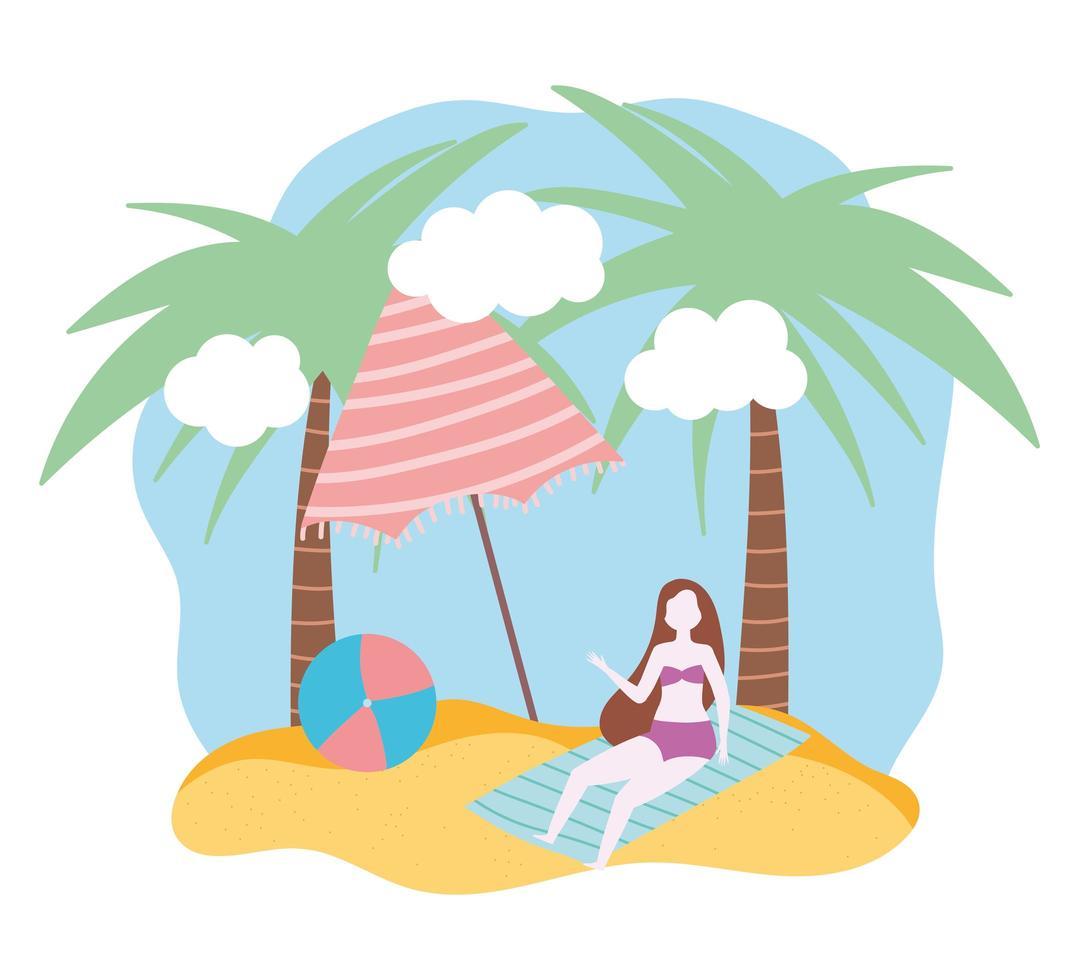 sommar människor aktiviteter flicka på handduk vektor