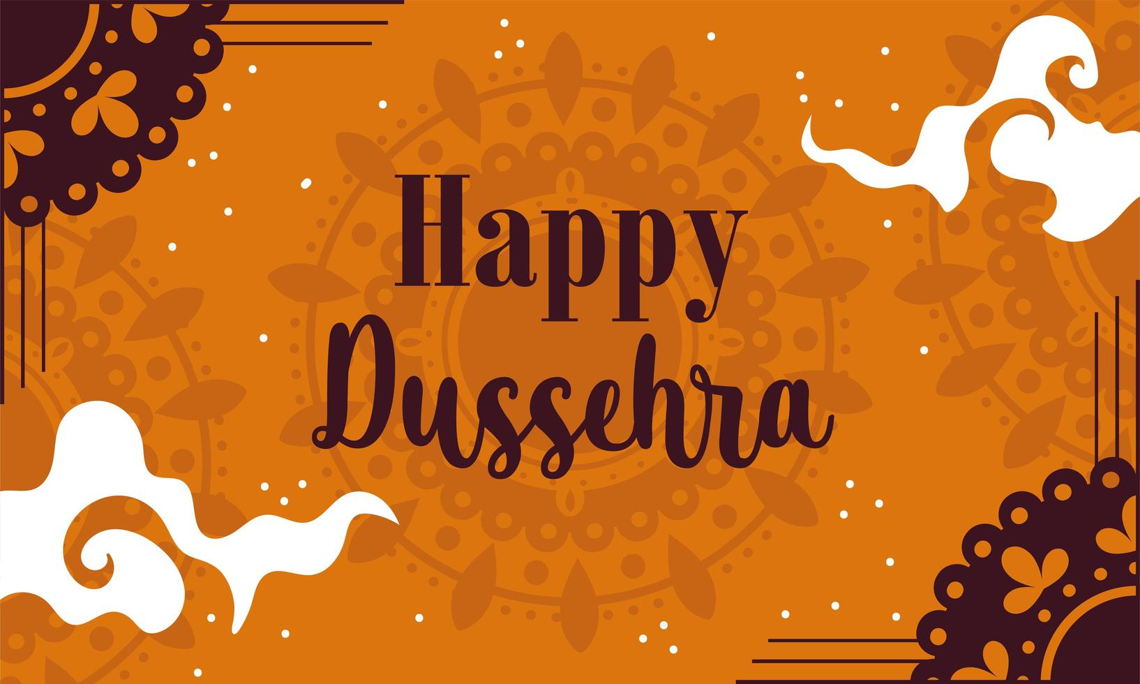 lycklig dussehra festival i Indien orange design vektor
